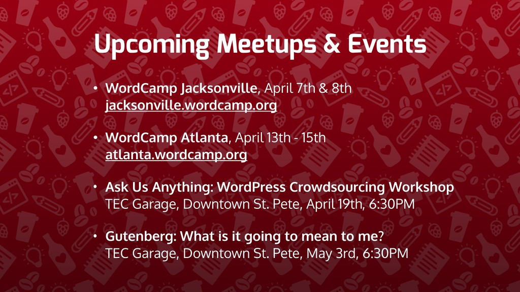 Upcoming Meetups & Events • WordCamp Jacksonvil...