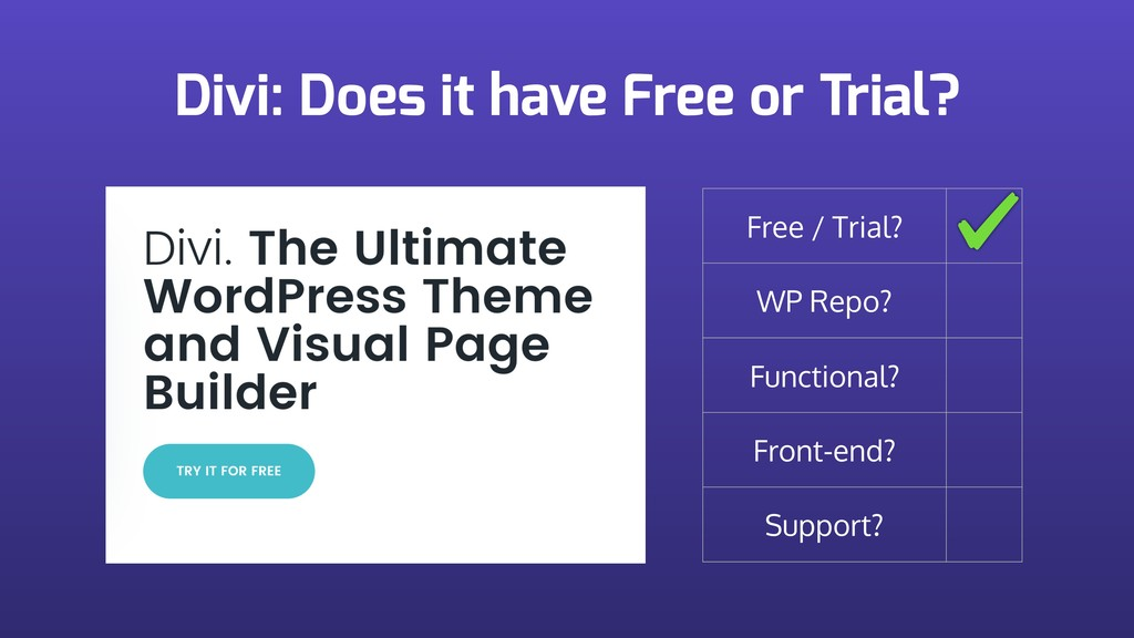 Divi: Does it have Free or Trial? Free / Trial?...
