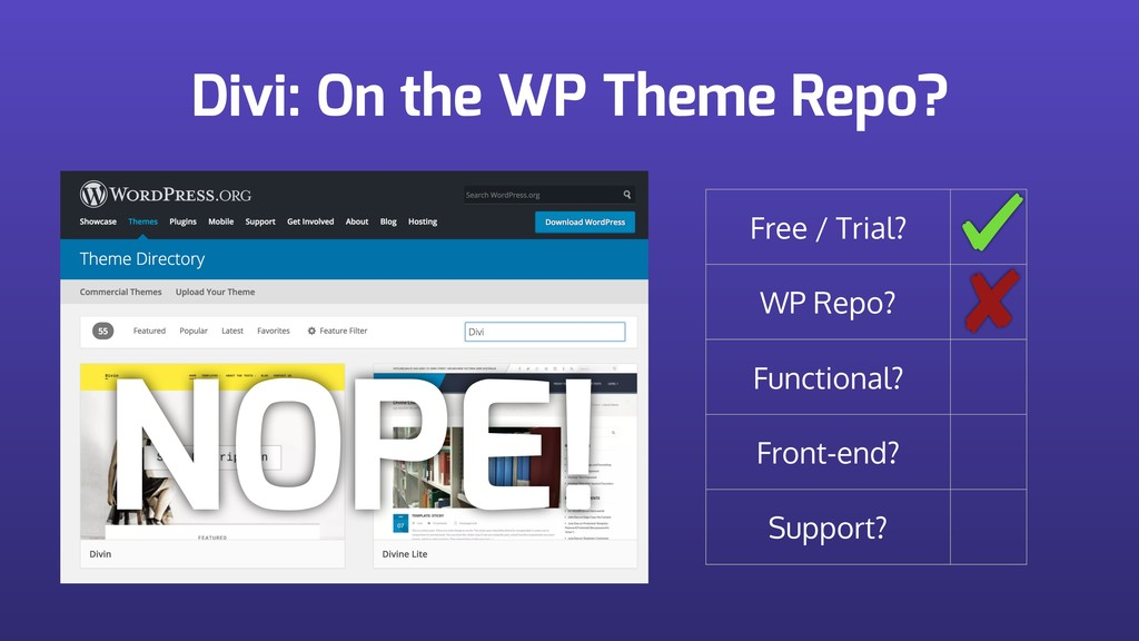 Divi: On the WP Theme Repo? Free / Trial? WP Re...
