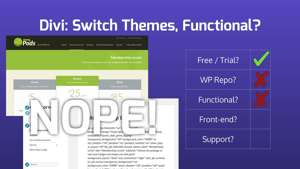 Divi: Switch Themes, Functional? Free / Trial? ...