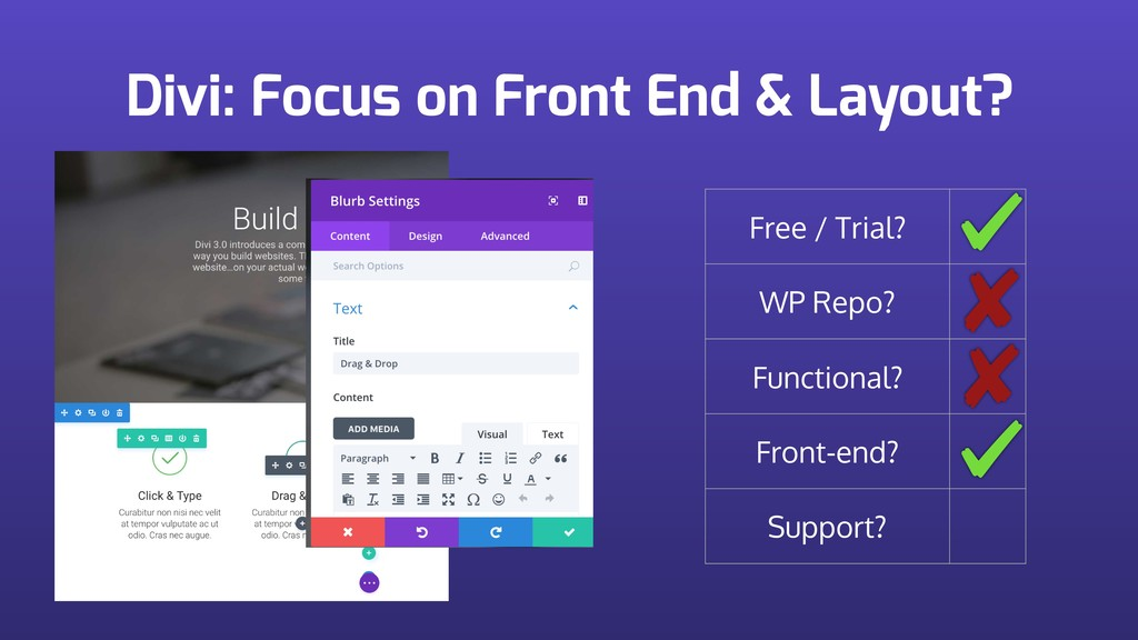 Divi: Focus on Front End & Layout? Free / Trial...