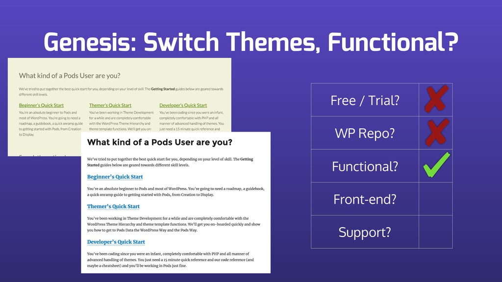 Genesis: Switch Themes, Functional? Free / Tria...