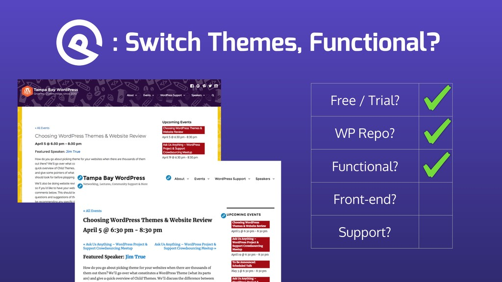 : Switch Themes, Functional? Free / Trial? WP R...