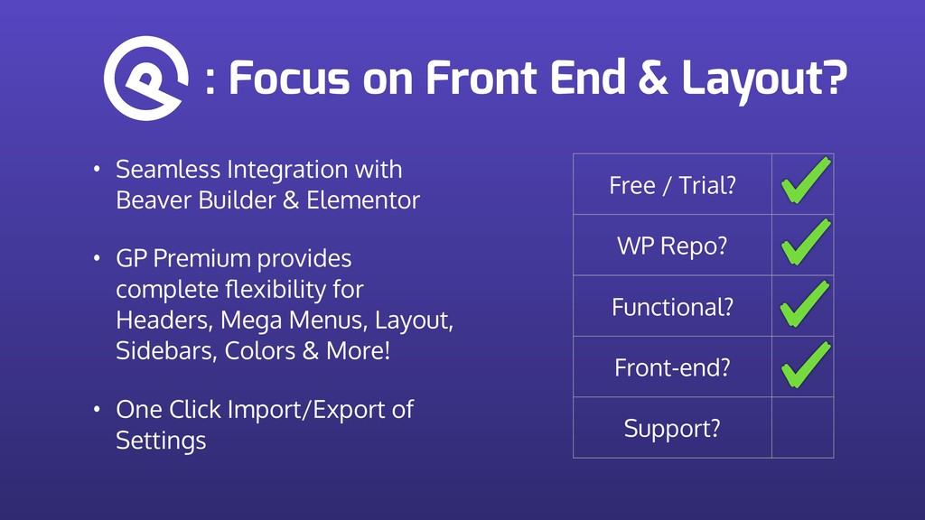 : Focus on Front End & Layout? Free / Trial? WP...