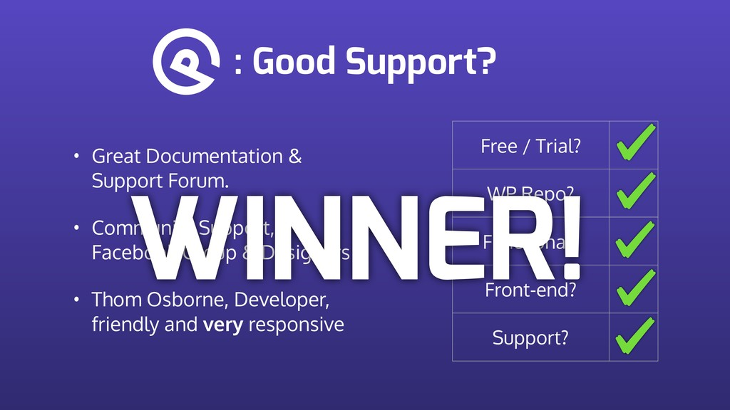 : Good Support? Free / Trial? WP Repo? Function...