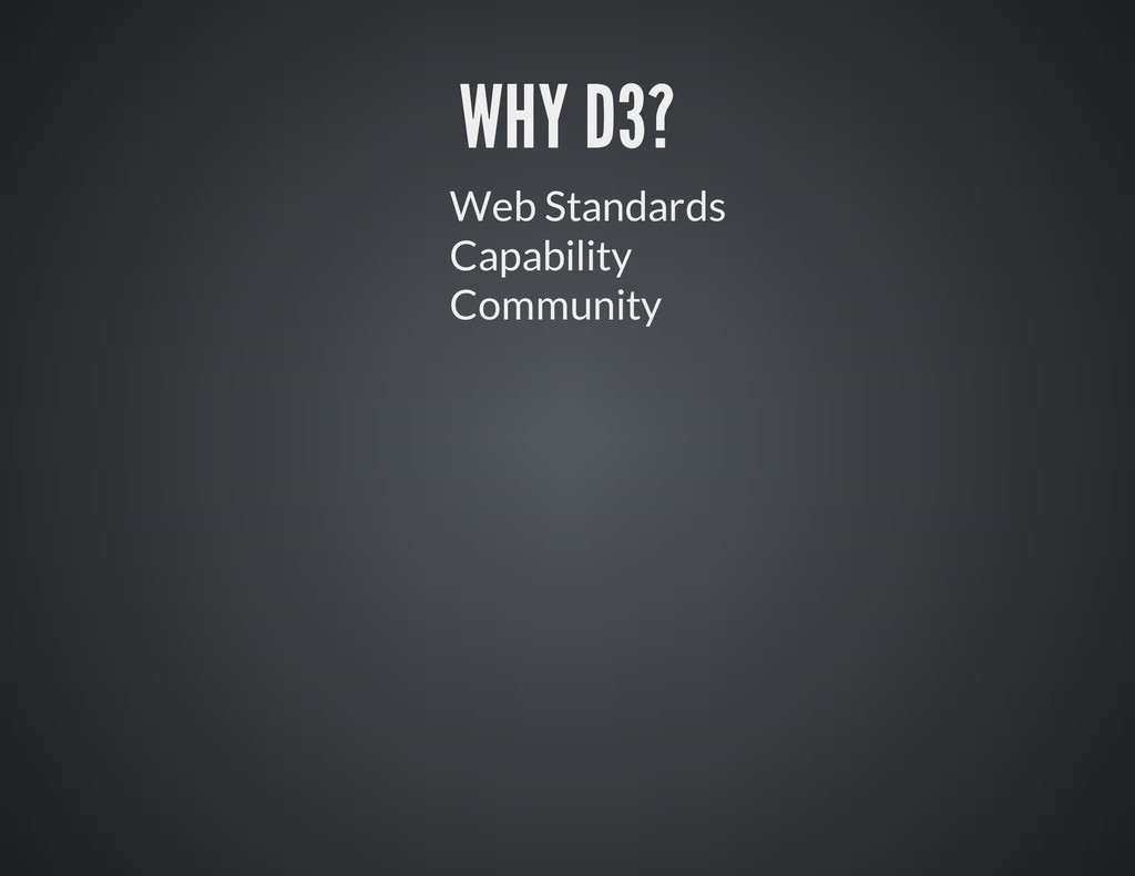WHY D3? Web Standards Capability Community