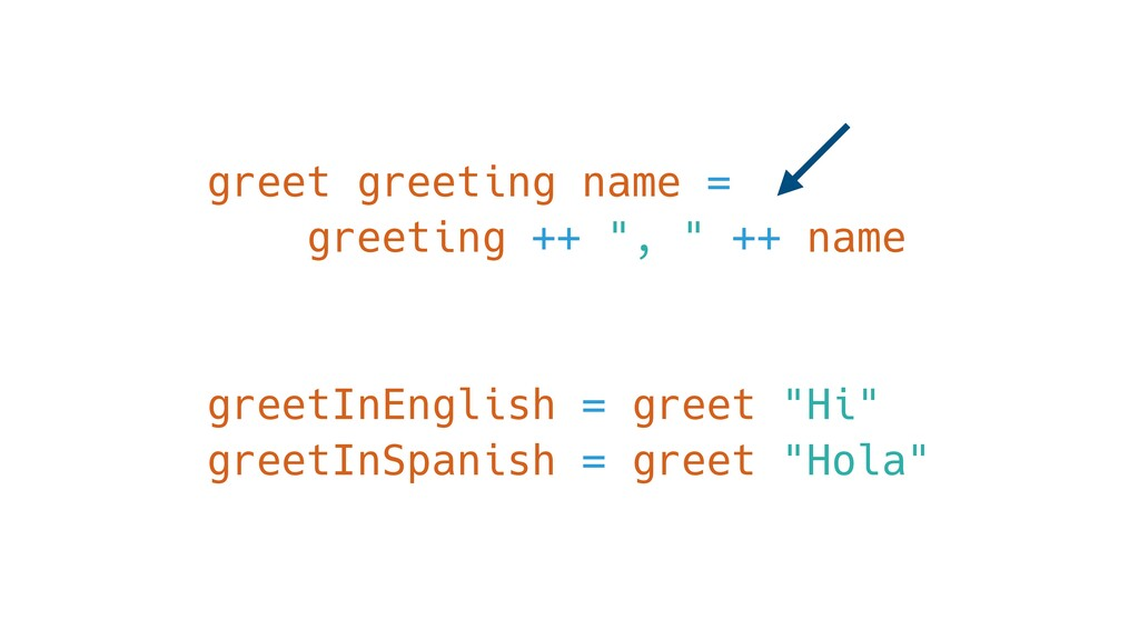 "greet greeting name = greeting ++ "", "" ++ name ..."