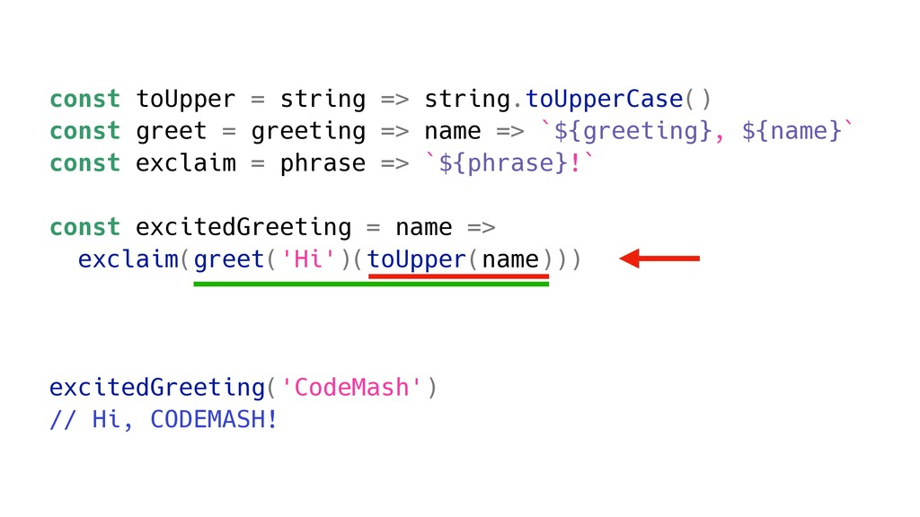 const toUpper = string => string.toUpperCase() ...