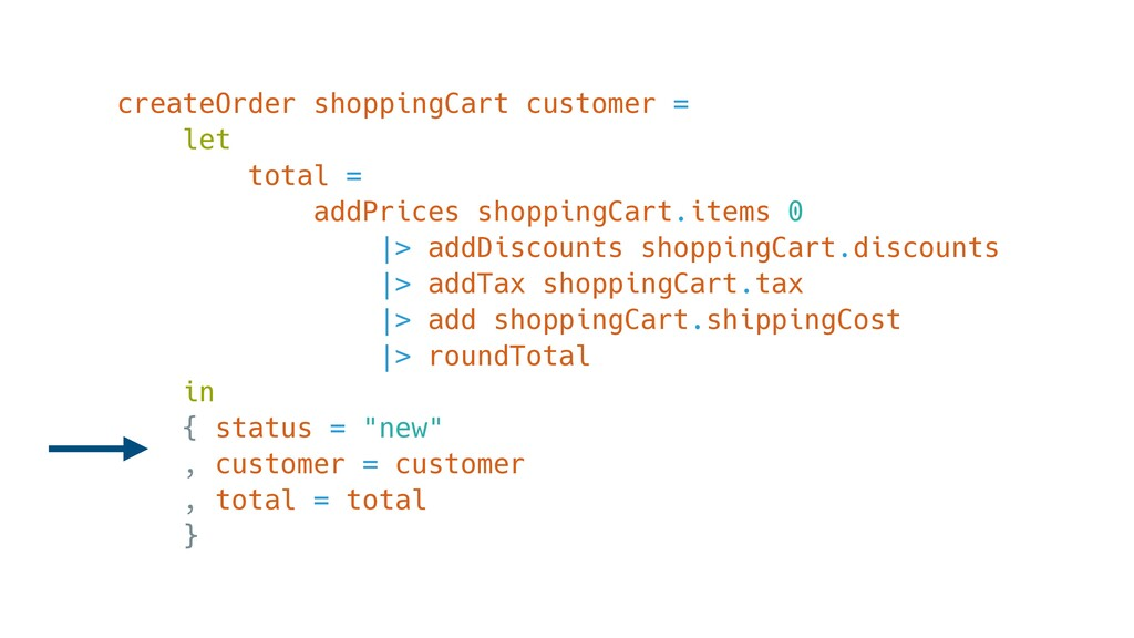 createOrder shoppingCart customer = let total =...