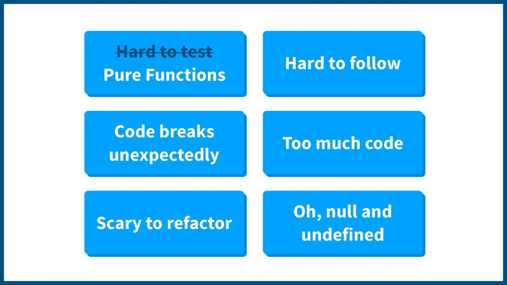 Hard to test Pure Functions Hard to follow Code...