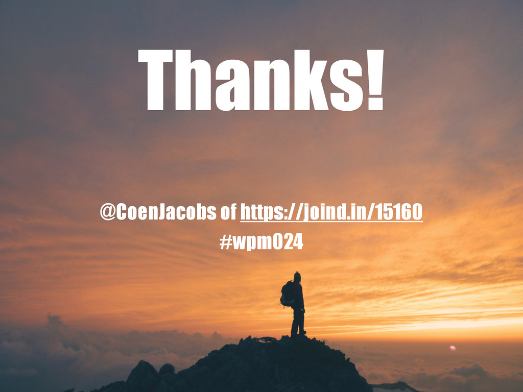 Thanks! @CoenJacobs of https://joind.in/15160 #...