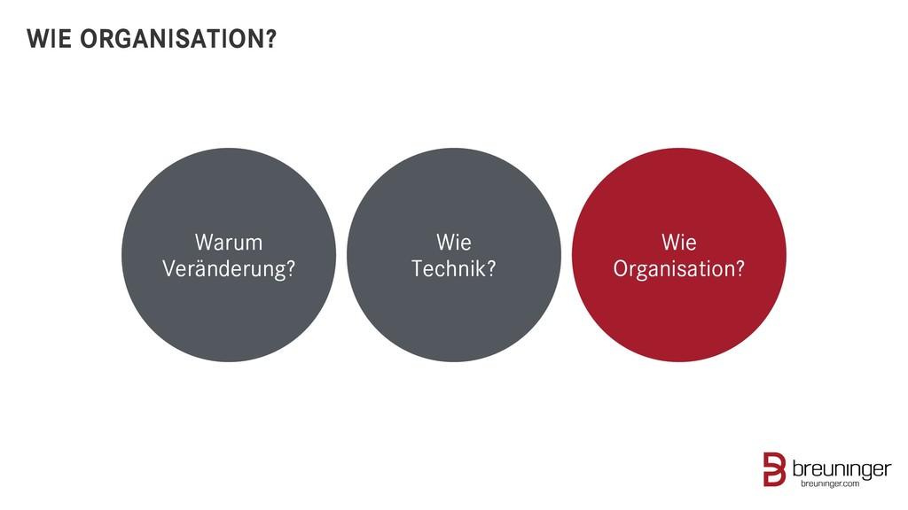 WIE ORGANISATION? Warum Veränderung? Wie Techni...