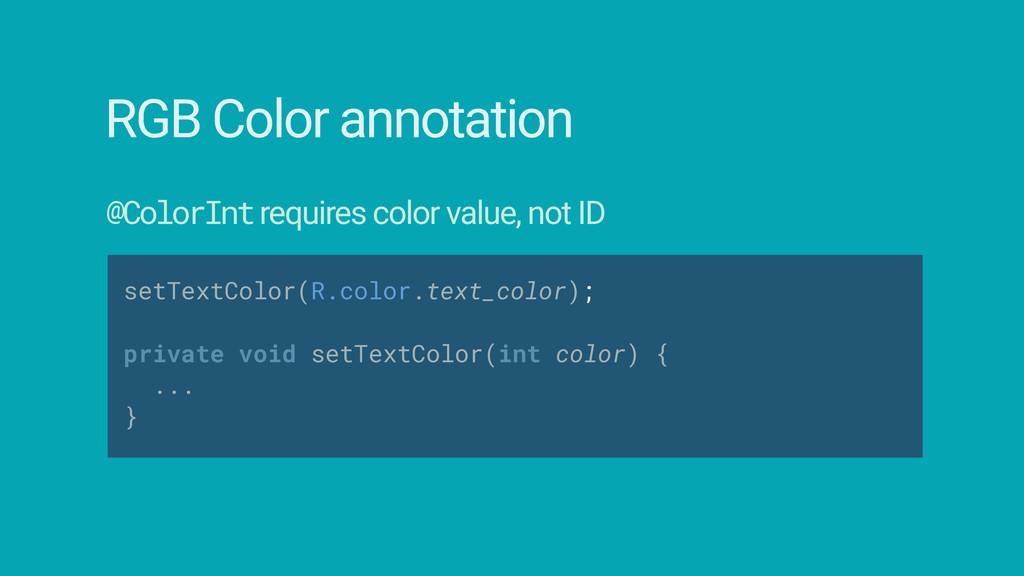 setTextColor(R.color.text_color);  private vo...