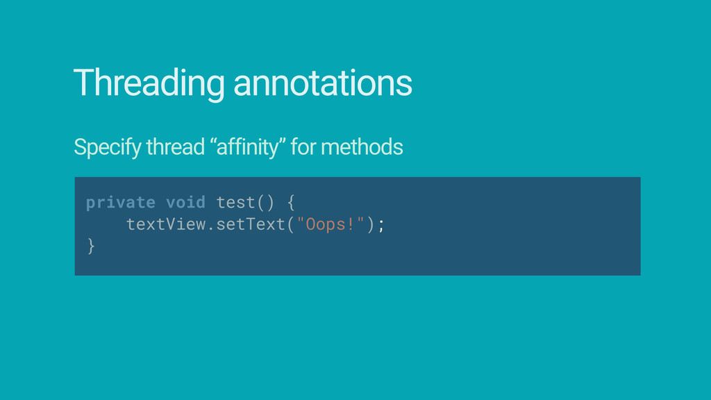 """Threading annotations Specify thread """"affinity""""..."""