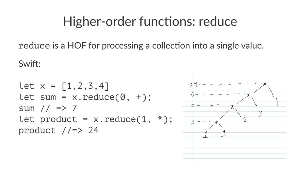 Higher'order*func/ons:*reduce reduce!is!a!HOF!f...