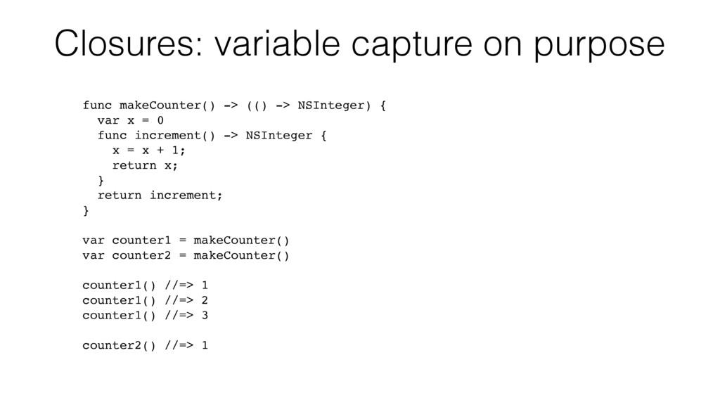 Closures: variable capture on purpose func make...