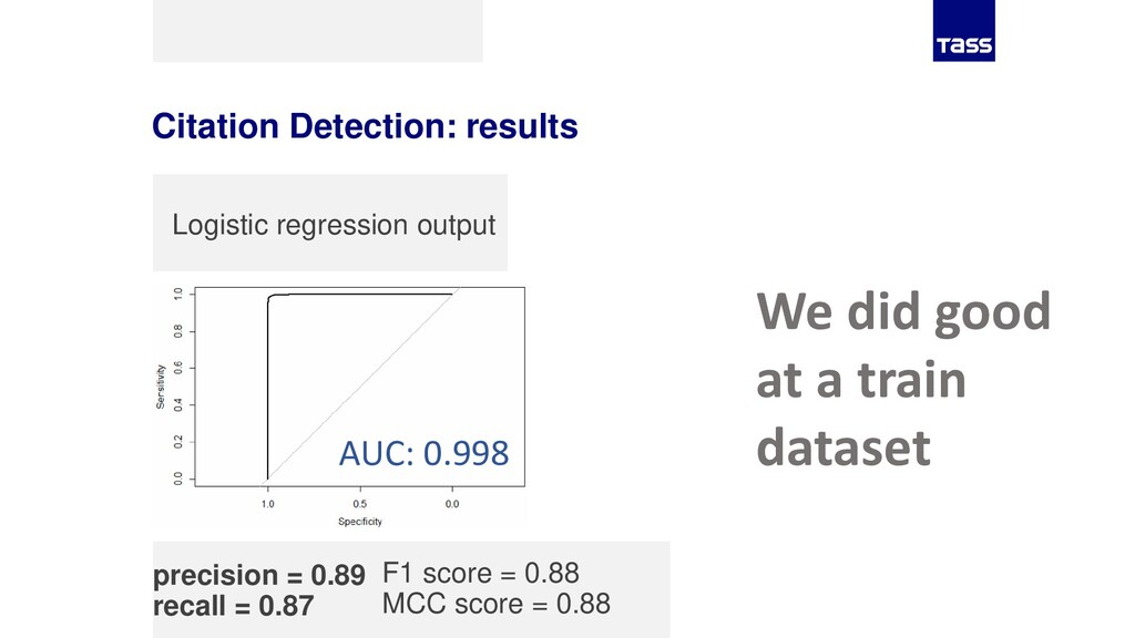 Citation Detection: results precision = 0.89 re...
