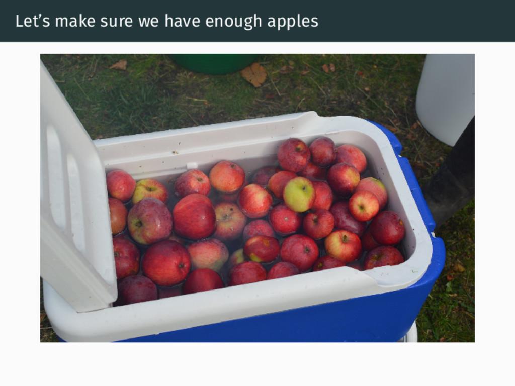Let's make sure we have enough apples