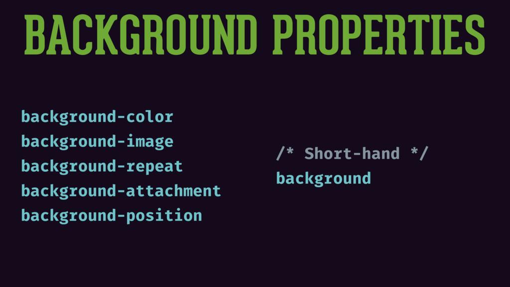 BACKGROUND PROPERTIES background-color backgrou...