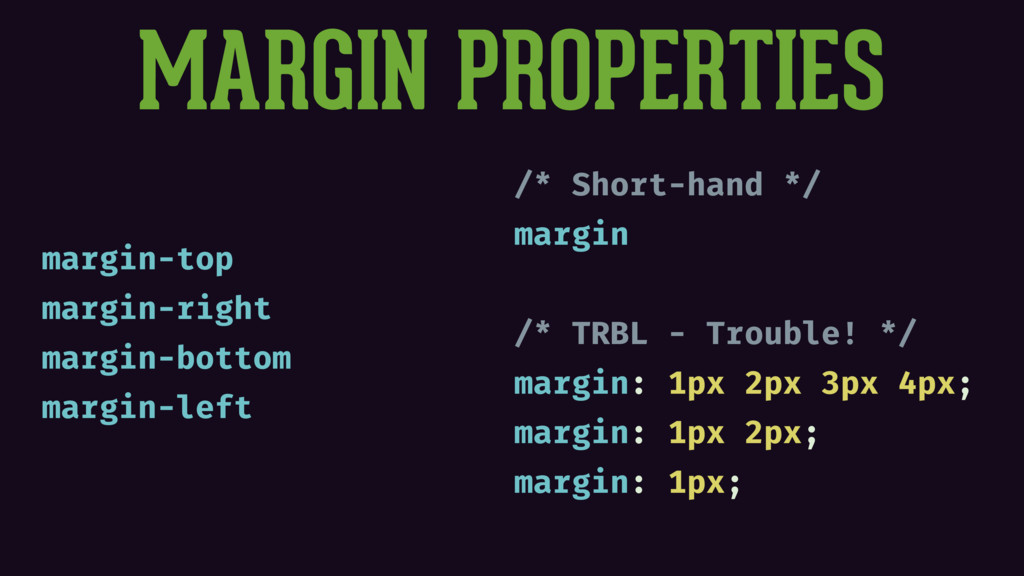 MARGIN PROPERTIES margin-top margin-right margi...