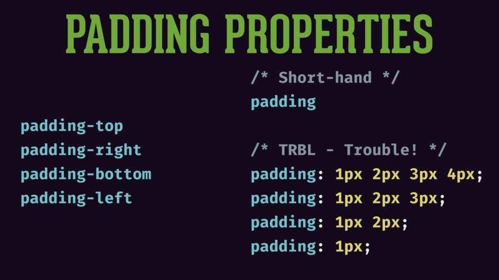 PADDING PROPERTIES padding-top padding-right pa...