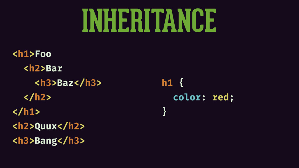 INHERITANCE <h1>Foo <h2>Bar <h3>Baz</h3> </h2> ...