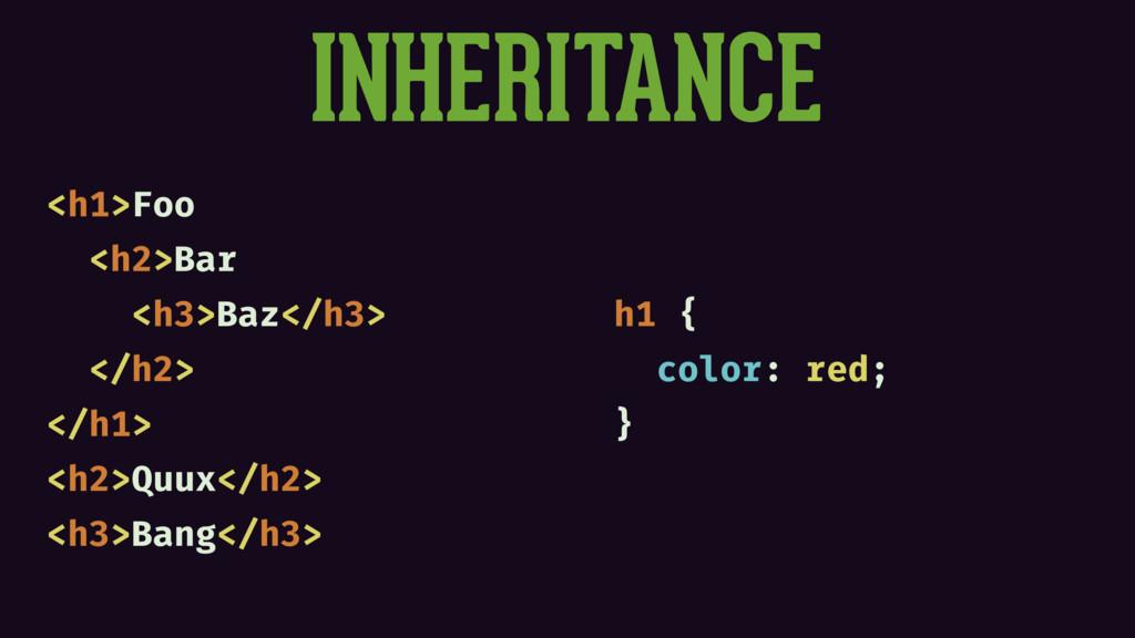 INHERITANCE <h1>Foo <h2>Bar <h3>Baz</h3> </h2> ...