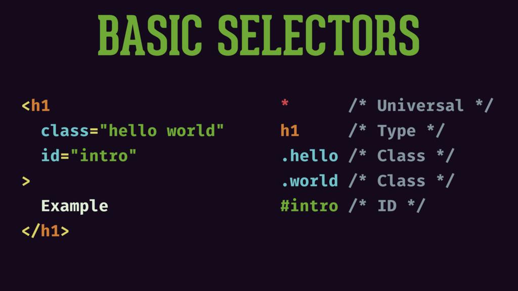 "BASIC SELECTORS <h1 class=""hello world"" id=""int..."