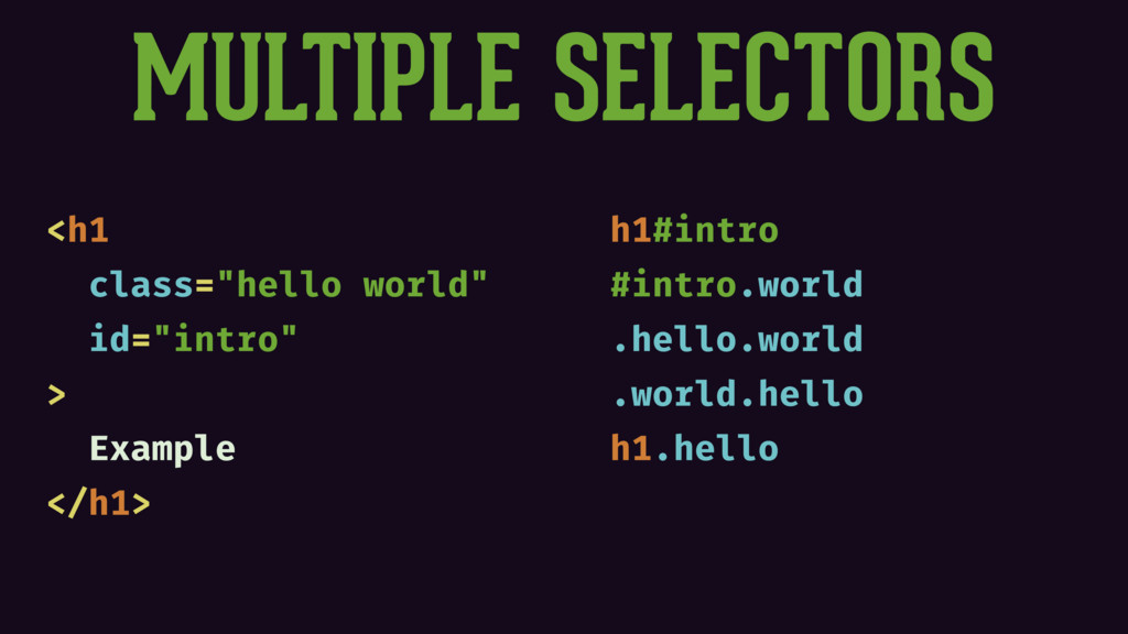 "MULTIPLE SELECTORS <h1 class=""hello world"" id=""..."