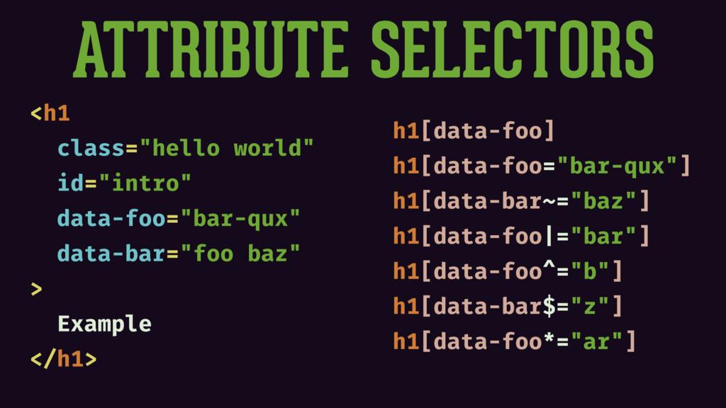 """ATTRIBUTE SELECTORS <h1 class=""""hello world"""" id=..."""