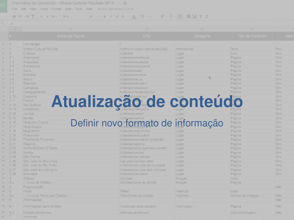 Atualização de conteúdo Definir novo formato de...