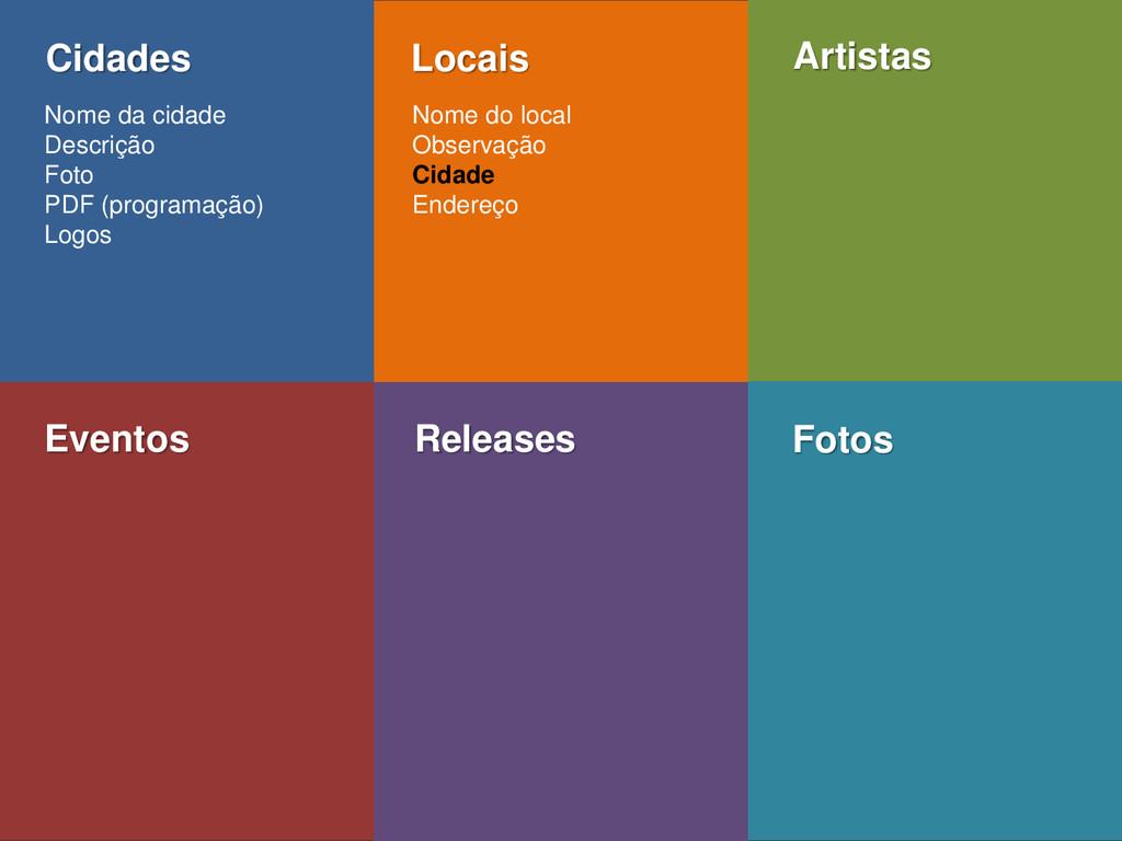 Eventos Releases Fotos Cidades Locais Artistas ...
