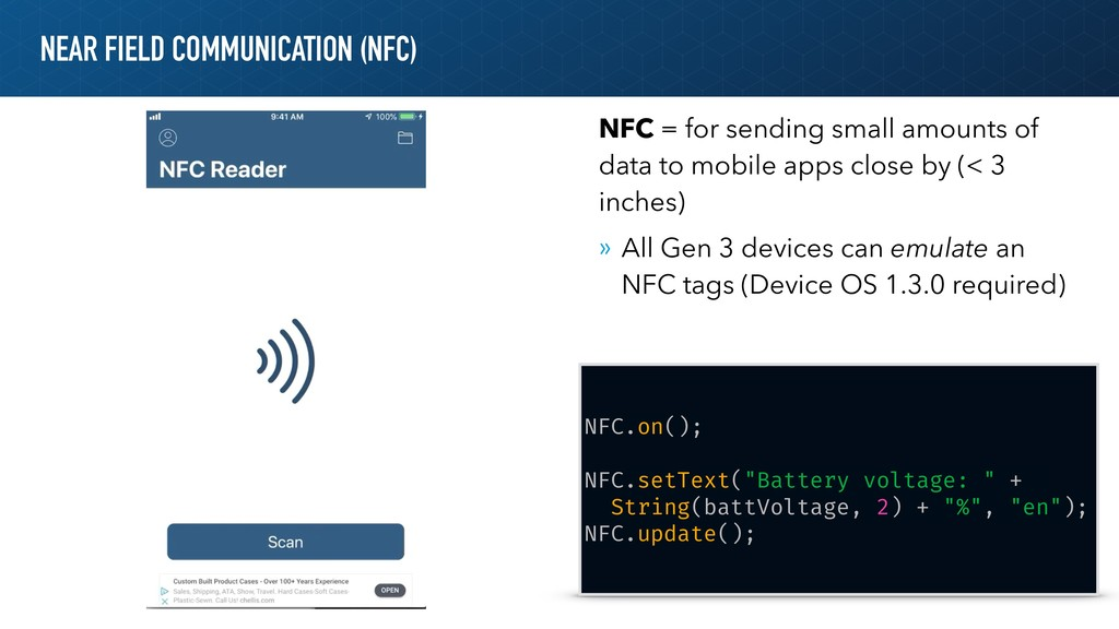 NEAR FIELD COMMUNICATION (NFC) NFC.on(); NFC.se...
