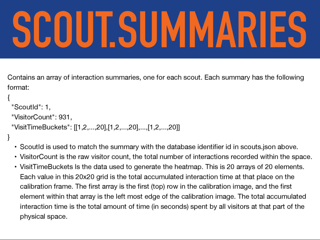 SCOUT.SUMMARIES Contains an array of interactio...