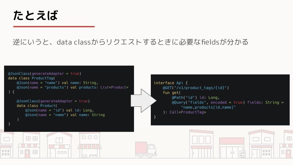 たとえば 逆にいうと、data classからリクエストするときに必要なfieldsが分かる