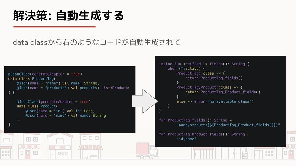 解決策: 自動生成する data classから右のようなコードが自動生成されて