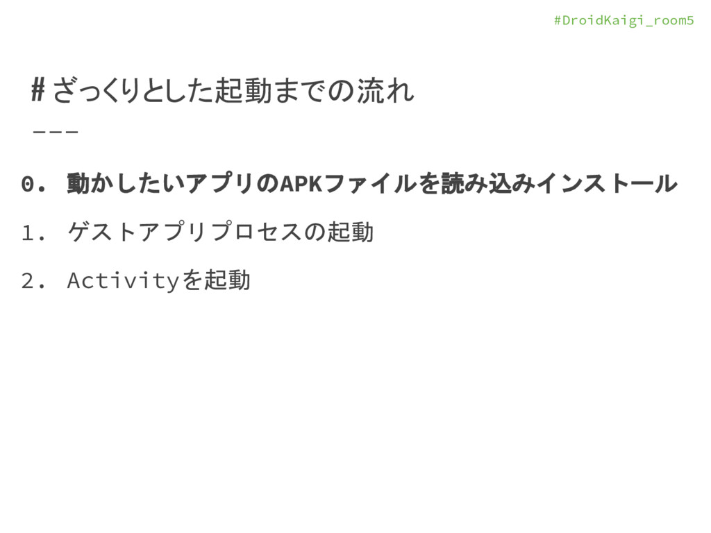 #DroidKaigi_room5 # ざっくりとした起動までの流れ 0. 動かしたいアプリの...