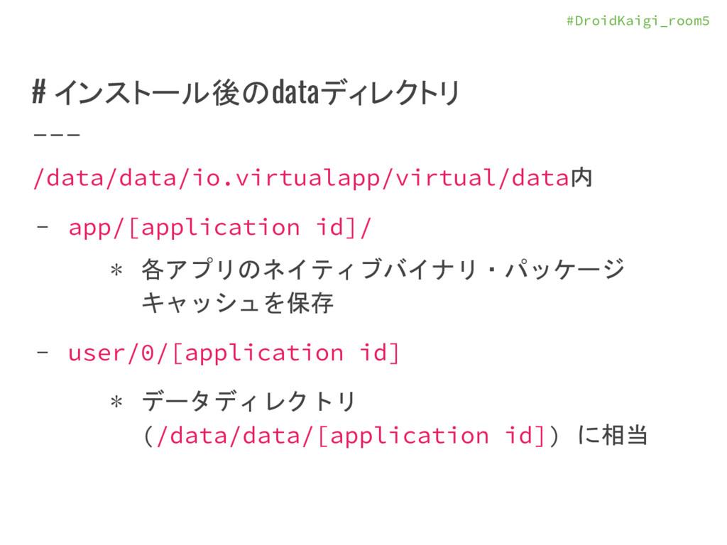 #DroidKaigi_room5 # インストール後のdataディレクトリ /data/da...