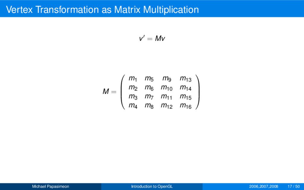 Vertex Transformation as Matrix Multiplication ...