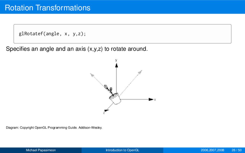 Rotation Transformations glRotatef(angle, x, y,...
