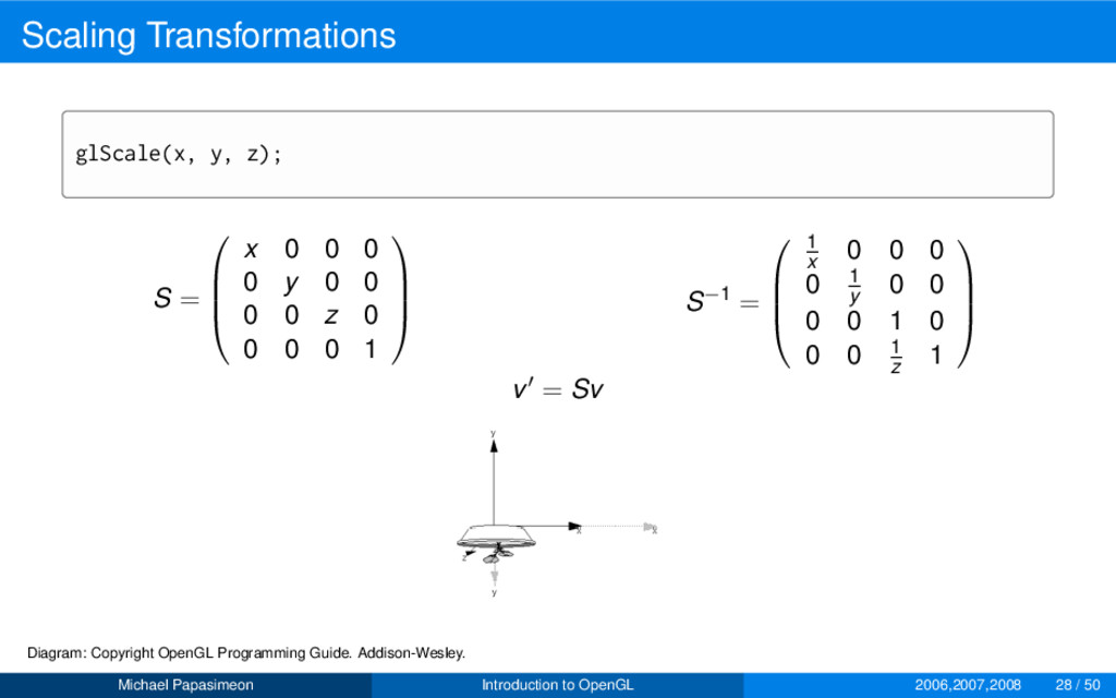 Scaling Transformations glScale(x, y, z); S = ...