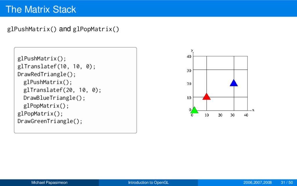 The Matrix Stack glPushMatrix() and glPopMatrix...