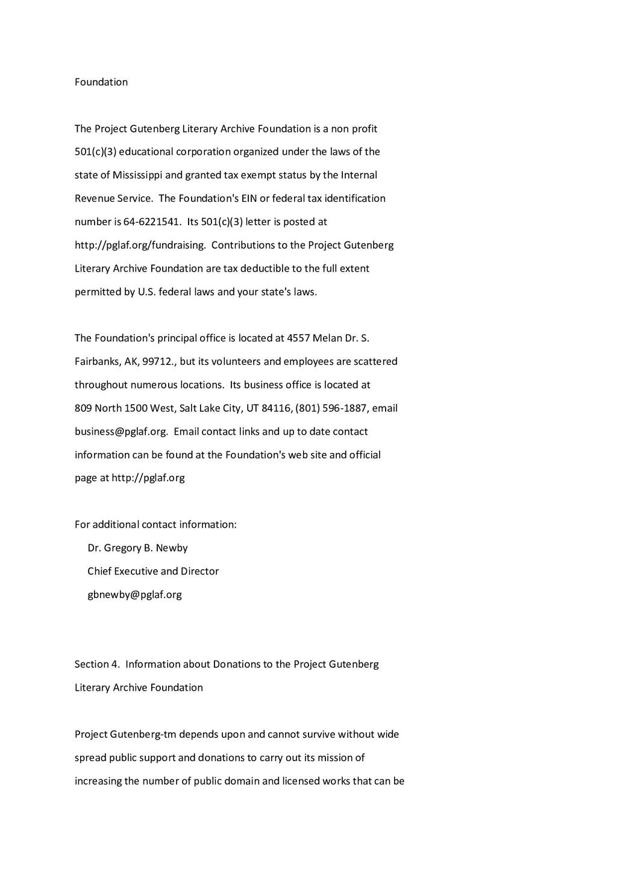 Foundation The Project Gutenberg Literary Archi...