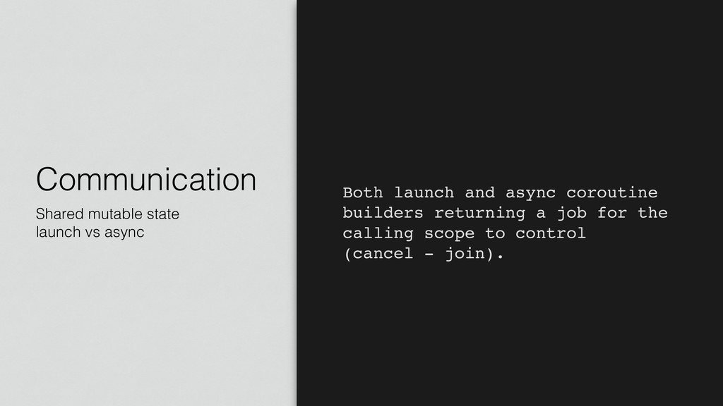 Communication Shared mutable state launch vs as...