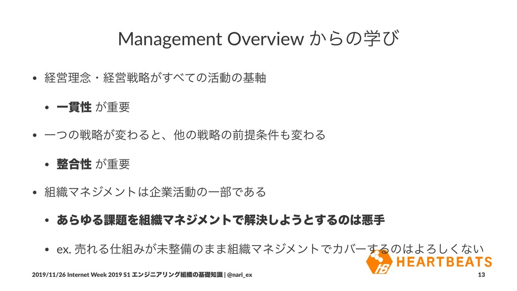 Management Overview ͔Βͷֶͼ • ܦӦཧ೦ɾܦӦઓུ͕͢΂ͯͷ׆ಈͷج࣠...