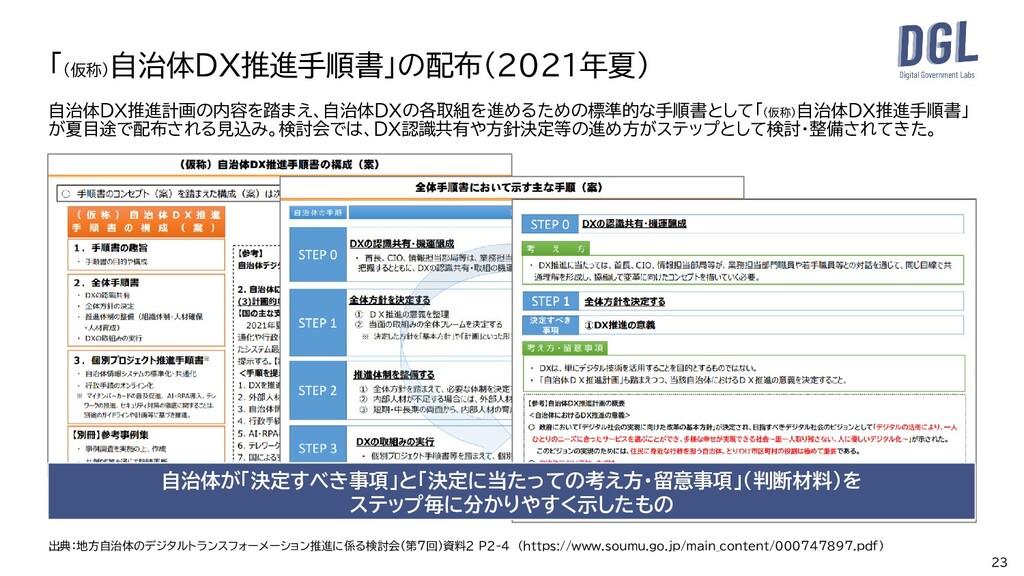 自治体DX推進計画の内容を踏まえ、自治体DXの各取組を進めるための標準的な手順書として「(仮称...