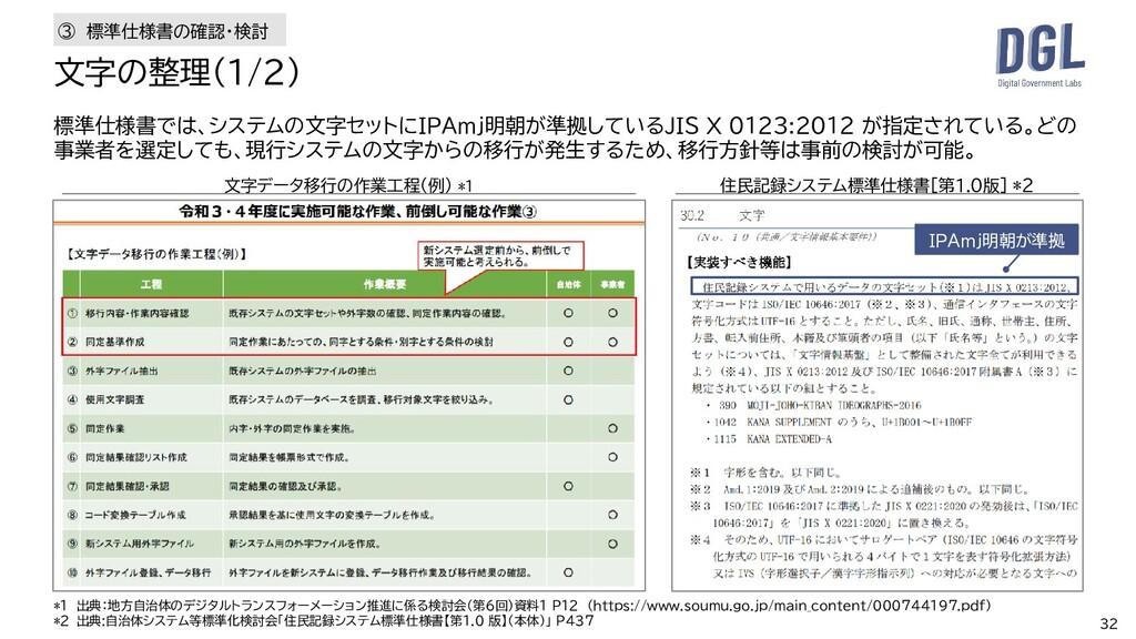 32 標準仕様書では、システムの文字セットにIPAmj明朝が準拠しているJIS X 0123:...