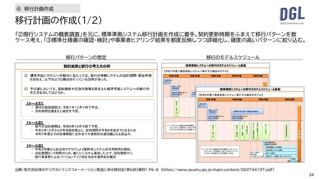 34 「②現行システムの概要調査」を元に、標準準拠システム移行計画を作成に着手。契約更新時期を...