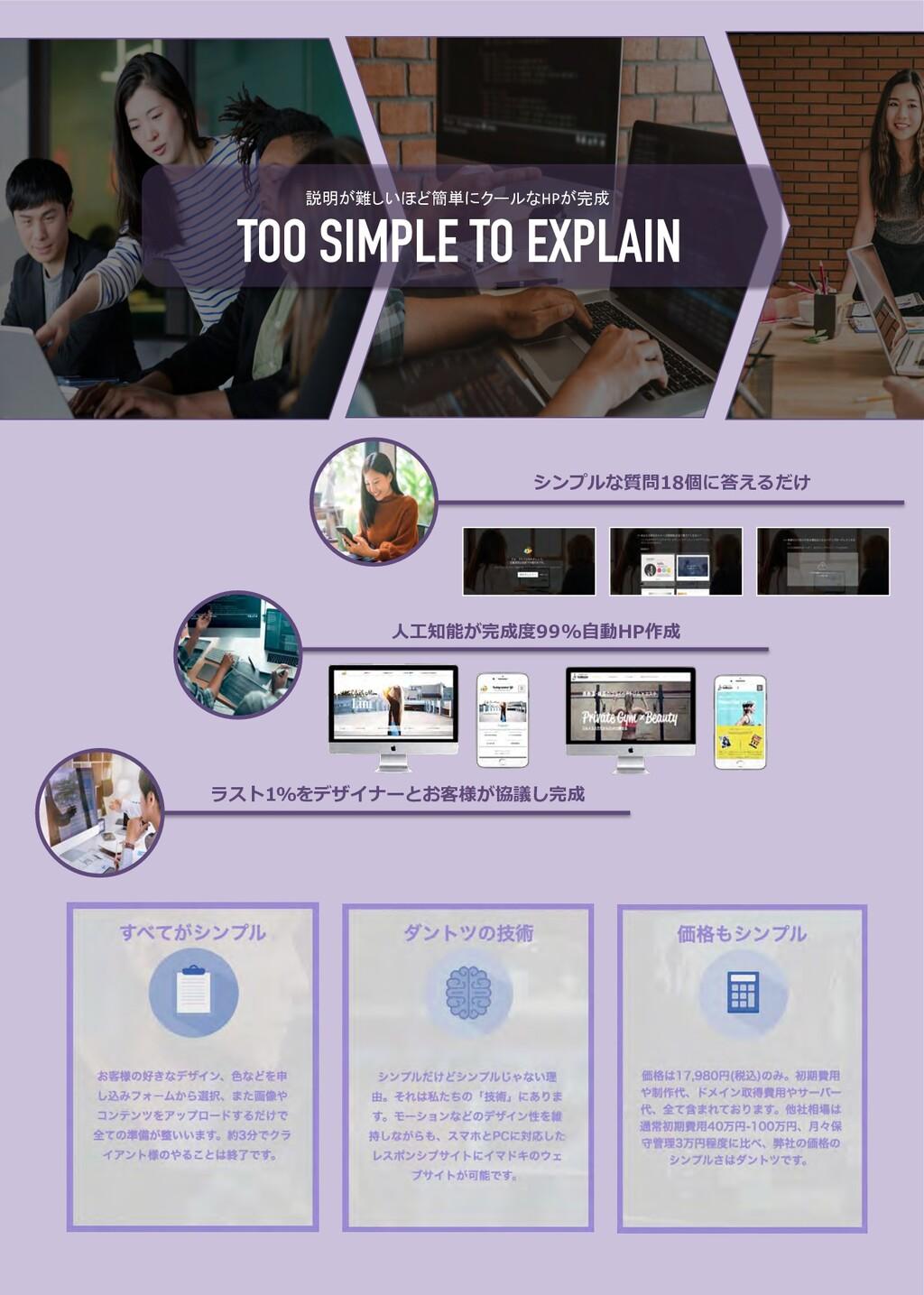 シンプルな質問18個に答えるだけ ⼈⼯知能が完成度99%⾃動HP作成 ラスト1%をデザイナーと...