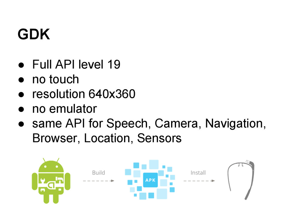 GDK ● Full API level 19 ● no touch ● resolution...